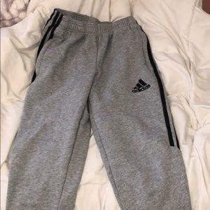 grey adidas striped jogger pants